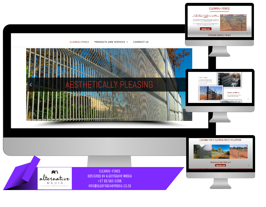 Website Design JHB, combination of CLEARVU-FENCE website screenshots, put together in one design to showcase website.