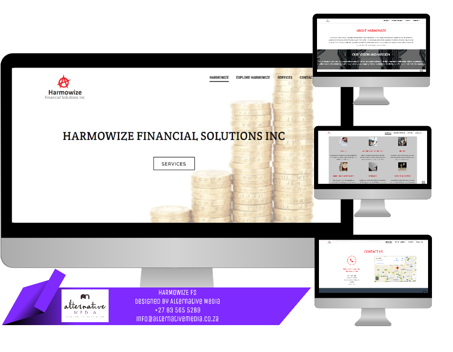 Website Design JHB, combination of HARMOWIZE FINANCIAL SOLUTIONS website screenshots, put together in one design to showcase website.