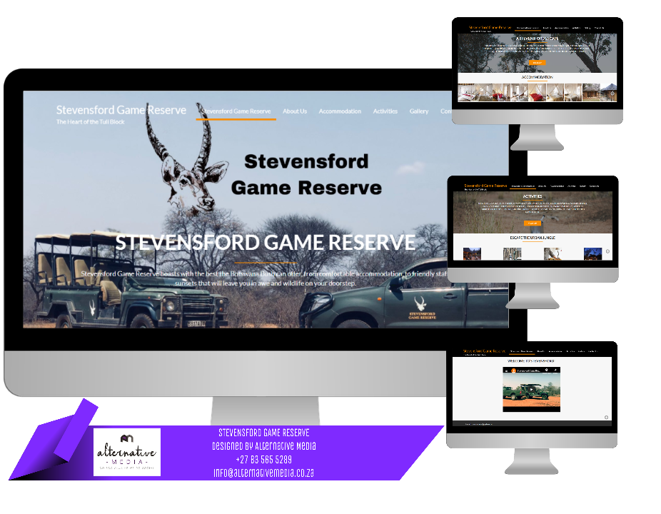Website Design JHB, combination of STEVENSFORD GAME RESERVE website screenshots, put together in one design to showcase website.