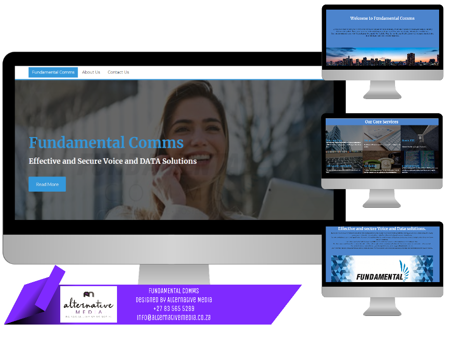 Website Design JHB, combination of FUNDAMENTAL COMMS website screenshots, put together in one design to showcase website.