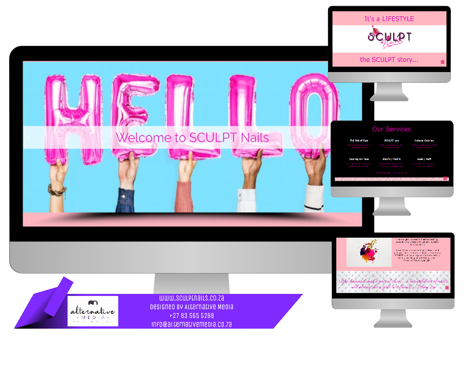 Website Design JHB, combination of SCULPT NAILS website screenshots, put together in one design to showcase website.